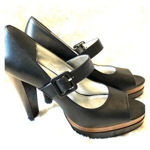 Calvin Klein Kaycie Peep Toe Buckle Heels
